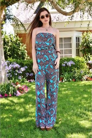 turquoise blue tribal Charlotte Russe romper