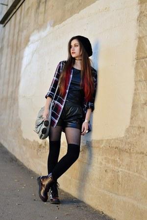 black mesh Charlotte Russe top - black beanie Charlotte Russe hat
