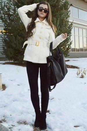 ivory belted Charlotte Russe coat - black ankle Steve Madden boots