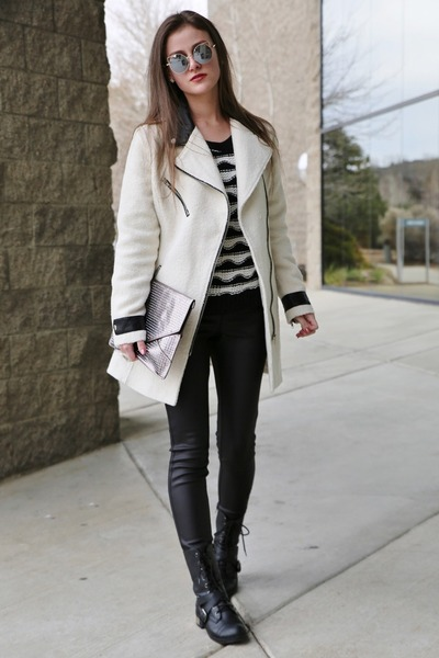 black combat Charlotte Russe boots - ivory wool Glamorous coat