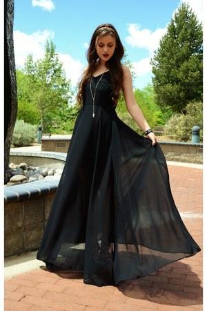 black leather Compassion Brands bracelet - black maxi Mart of China dress