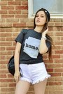 Black-faux-leather-express-hat-dark-gray-home-t-shirt