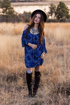 blue shift Charlotte Russe dress - black tall Charlotte Russe boots