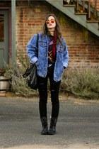 black distressed Roxy boots - black PacSun jeans - blue denim vintage jacket