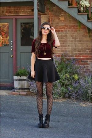 crimson velvet crop Charlotte Russe top - black T-shirt and Jeans bag