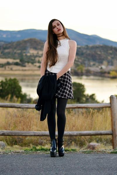 black platform Jeffrey Campbell boots - ivory sleeveless Blush Boutique sweater