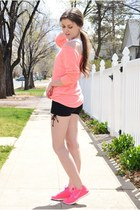 salmon Charlotte Russe top - black poof apparel shorts - salmon nike sneakers