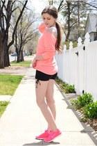 salmon Charlotte Russe top - black poof apparel shorts - salmon nike sneakers