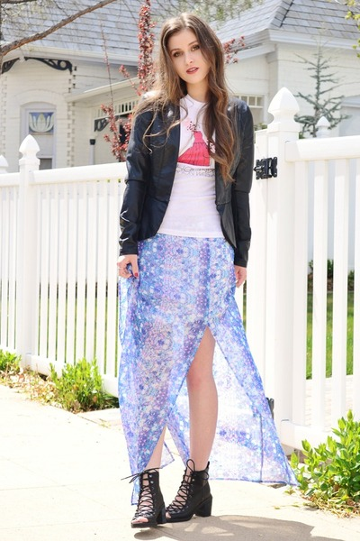 black peplum Charlotte Russe jacket - light purple floral print Ali & Kris skirt