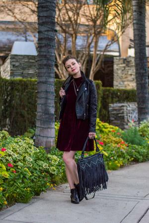 black Charlotte Russe boots - crimson velvet Charlotte Russe dress