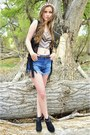 Black-cut-out-ankle-merona-boots-blue-denim-forever-21-shorts