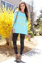 aquamarine hi-lo Charlotte Russe sweatshirt - black tribal poof apparel leggings