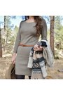 Brown-heeled-lucky-brand-boots-heather-gray-sweater-poof-apparel-dress