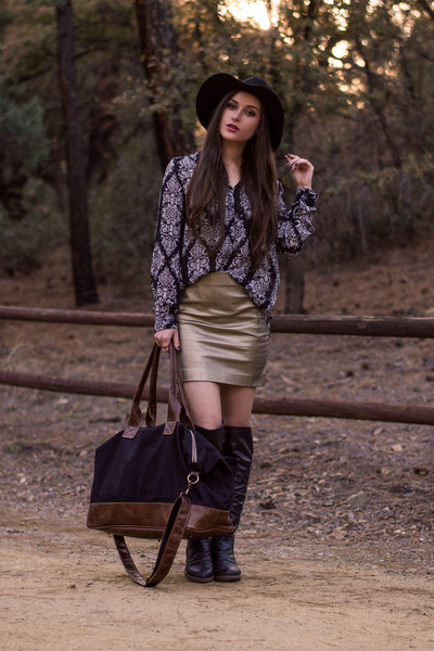gold leather Viparo skirt - black over the knee Charlotte Russe boots
