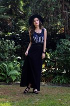 black Urban Outfitters hat - black maxi East & Lo skirt
