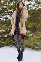 tan Cherokee coat - black Charlotte Russe boots