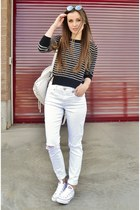 white high-waisted Express jeans - black striped crop poof apparel sweater