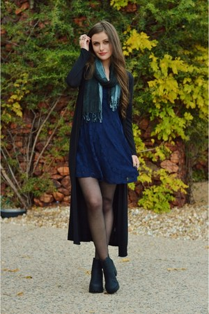 black H&M boots - navy lace others follow dress