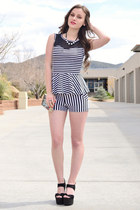 white striped Charlotte Russe shorts - white peplum striped Charlotte Russe top