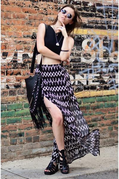 black crop garage top - black fringe la moda bag