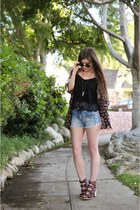 black kimono Charlotte Russe cardigan - light blue denim Charlotte Russe shorts