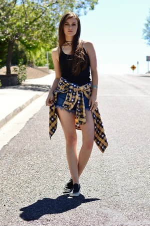 light yellow flannel Beta Apparel shirt - blue denim Forever 21 shorts