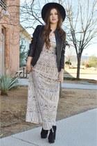 black platform Grey City boots - ivory maxi poof apparel dress