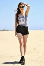 black Blush Boutique shorts - heather gray WildheartLA top