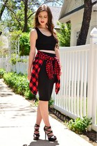 black crop Blush Boutique top - red plaid BDG shirt