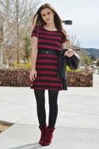 crimson slouchy Trendy Blendy boots - crimson striped city triangles dress