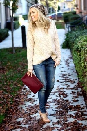 hot pink lipstick accessories - blue denim AG Jeans jeans