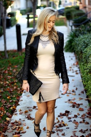 black blank nyc jacket - beige Forever 21 dress - black purse