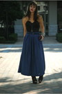 Black-vintage-blouse-navy-maxi-length-vintage-skirt-black-dollhouse-heels