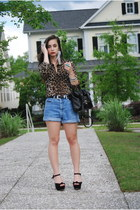 brown Thrifted Leopard blouse - black faux leather Forever 21 bag