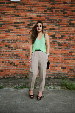 chartreuse H&M top - black vintage bag - tan vintage pants