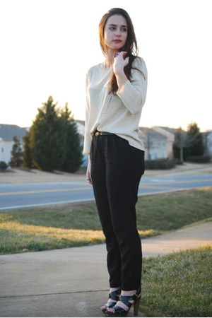 black Steve Madden heels - black H&M pants - tan thrifted jumper
