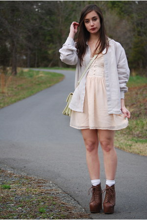 brown Jeffrey Campbell boots - peach H&M dress
