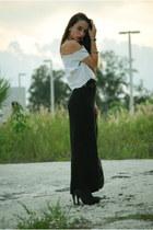 black thrifted skirt - black Forever 21 boots