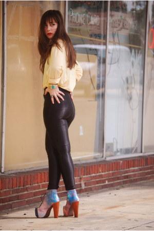 sky blue cosmic litas Jeffrey Campbell heels - black American Apparel pants