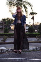 black sheer vintage pants - navy jean jacket vintage jacket