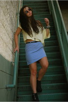 light yellow H&M top - periwinkle thrifted skirt - black Sole Boutique wedges