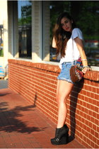 white Forever 21 shirt - blue Denim Thrifted shorts - black Sole Boutique wedges