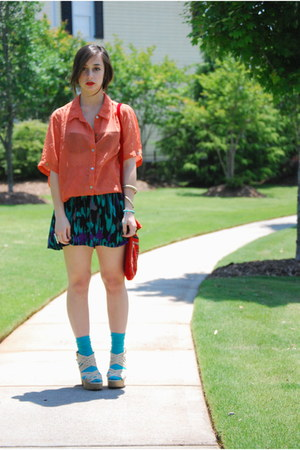 red Persian bag - turquoise blue Target socks - black tribal print Forever 21 sk