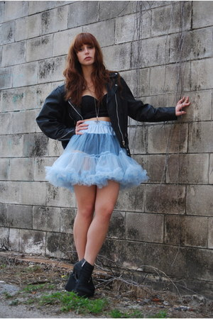 light blue tutu petticoat skirt - black leather vintage jacket