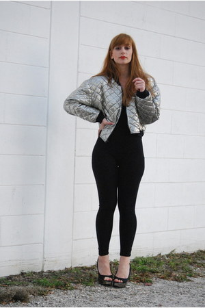 silver puff sleeve Vintage by Shevahh jacket - black American Apparel bodysuit