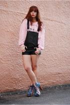 light blue cosmic litas Jeffrey Campbell boots - light pink vintage sweater