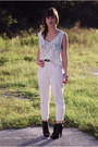 Eggshell-lace-vintage-blouse-light-pink-vintage-pants-black-aldo-heels
