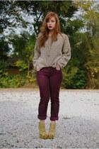 magenta corduroy JCrew pants - tan fuzzy Vintage by Shevahh sweater