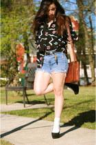 navy DIY Levis shorts - black Charlotte Russe heels
