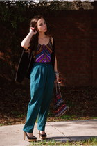 forest green high waisted Vintage by Shevahh pants - maroon bag